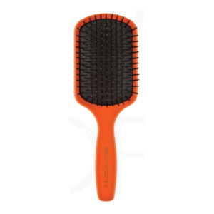 Щетка прямоугольная 3ME Maestri Soft Touch Для длинных волос с пластиковыми зубьями на каучуковой подушке, Оранжевая 4092