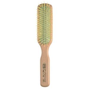 Щетка прямоугольная 3ME Maestri PREMIERE Для короткой и средней длины волос из берёзы, с пластиковыми зубьями на каучуковой подушке 2007