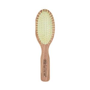 Щетка овальная 3ME Maestri PREMIERE Для короткой и средней длины волос из берёзы, с пластиковыми зубьями на каучуковой подушке, маленькая 2008