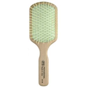 Щетка прямоугольная 3ME Maestri PREMIERE Для длинных волос из берёзы, с пластиковыми зубьями на каучуковой подушке